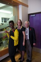 Paulette Edwards (BBC Radio Sheffield), Karen Holmes (Centre Manager), Professor Barry Hancock (Chairman)